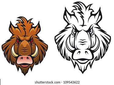 Head of angry boar for sports mascot design in color and black variations, such a logo. Jpeg version also available in gallery