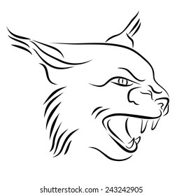 Head of angry lynx. Black and white illustration with head of wild cat with bared teeth. Hand drawn sketch. Ink painting. Design element useful for logo. Vector file is EPS8.