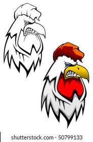 Head of angry rooster as a tattoo design. Jpeg version also available in gallery
