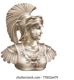 Head of antique hero on white background