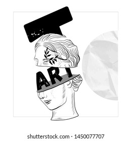 The head of an antique statue in graphic modern stye with slogan - art