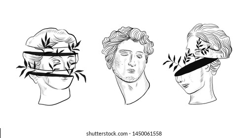 The head of an antique statue in graphic style. Surreal hand drawn portrait of a man and woman.
