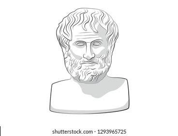 Head of Aristotle Greece Athens Ancient philosophy statue philosopher sculpture vector aristotles