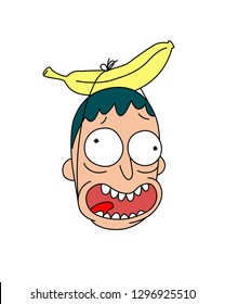 Head with banana. Vector. Flat style. Cheerful crazy character for a party. Logo, mascot. The image of a sick person and a creative artist.