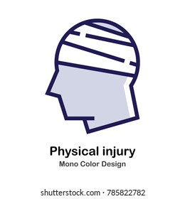 Head and bandage mono color icon