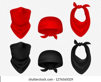 Head bandanas, neck scarf and realistic vector set