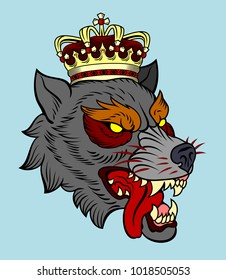 The head bared ferocious wolf with a golden crown. Drawing in the style of Old School Tattoos