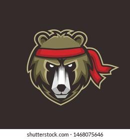 head bear with red headband espor logo style