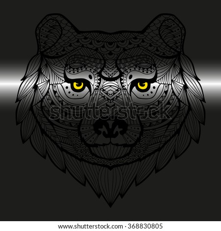 Head Bear Style Zentangle Patterned Animals Stock Vector Royalty Enchanting Patterned Animals