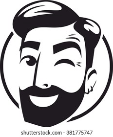 the head of a bearded hipster wink logo sign