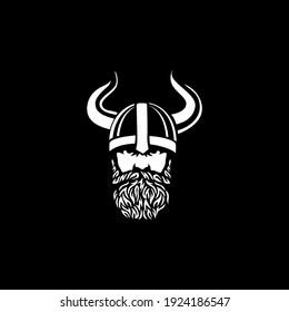 Head of bearded viking warrior with horned helmet