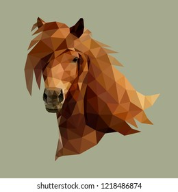 The head of beautiful horse consisting of triangles