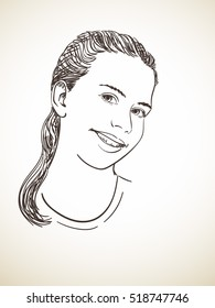 Head of beautiful young girl, Vector sketch Hand drawn illustration