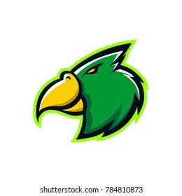 head bird mascot logo sport team