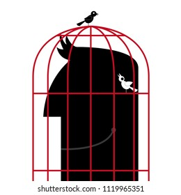 The head is in a birdcage.Two birds are outside the cage.