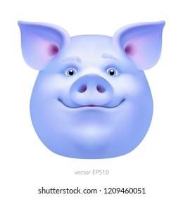 Head of bizarre blue pig. Vector portrait of a strange alien hog. Face of a fancy swine with a bluish and violet skin. Freaky boar. Funny magic animal character. Detailed clipart.