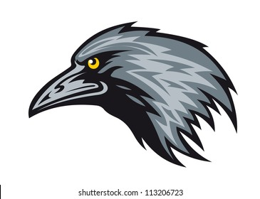 Head of black raven for mascot. Vector illustration