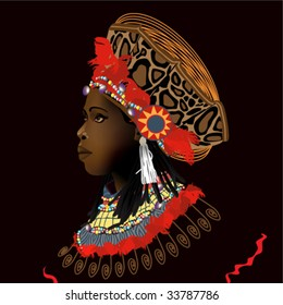 head of black woman in decorations and stylish clothes in a type on black background