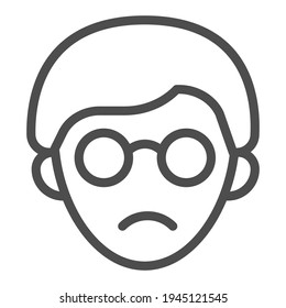 Head of a blind guy with glasses line icon, disability concept, blind man sign on white background, blind man with glasses icon in outline style. Vector graphics