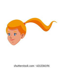 head blonde girl ponytail character icon