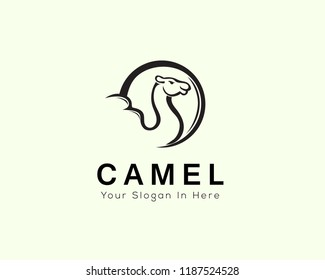 head and body camel in circle logo line art