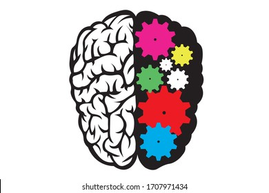 Head and Brain Gears in Progress. gears. Business process concept. The origin of the idea. Thinking process.