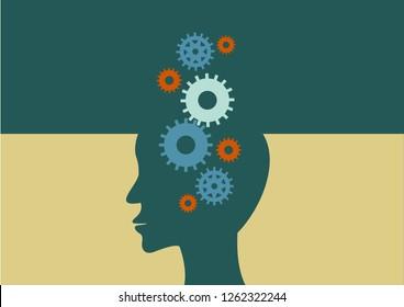 Head and Brain Gears in Progress. vector illustrator.