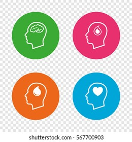 Head with brain icon. Male human think symbols. Blood drop donation sign. Love heart. Round buttons on transparent background. Vector