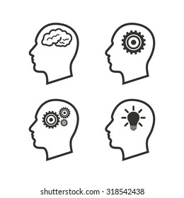 Head with brain and idea lamp bulb icons. Male human think symbols. Cogwheel gears signs. Flat icons on white. Vector