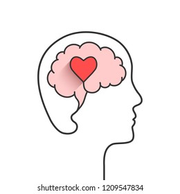 Head and brain silhouette with heart shape as love, mental health or emotional intelligence concept