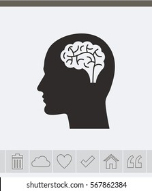 Head with brain vector icon.