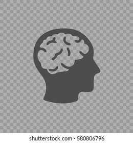 Head with brain vector icon eps 10. Simple isolated illustration on transparent background.