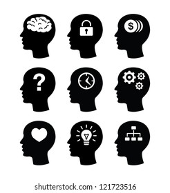 Head brain vector icons set