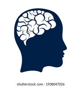 Head with brain vector illustration design. woman head and brain vector icon. Mind concept.