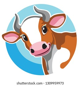head of brown spotted cow in circle shape . Cartoon icon, logo , emblem , sticker on blue background. Vector illustration