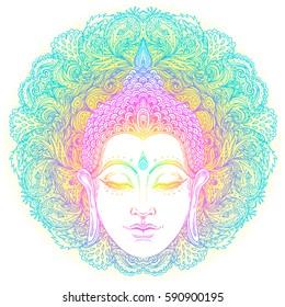 Head of Buddha over ornate mandala round pattern. Esoteric vector illustration. Vintage decorative culture background. Indian, Buddhism, spiritual art. Hippie tattoo, spirituality, Thai god, yoga zen