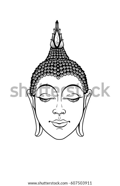d22663d4d9380 Head buddha vector. Buddha face isolated on white. Esoteric vintage vector  illustration. Indian