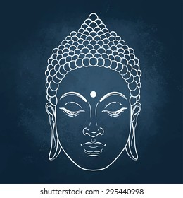 Head of Buddha. Vector illustration over the blackboard background.
