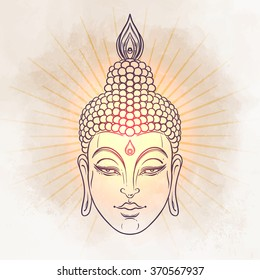 Head of Buddha. Vector illustration over vintage background. Vintage decorative elements. Indian, Hindu motifs. Tattoo, yoga, spirituality, textiles.