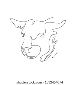 The head of a bull drawn in one line. Continuous line. Vector illustration in a minimalistic style. Agriculture. Logo illustration.