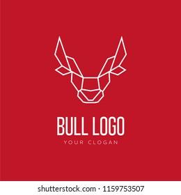 Head of Bull Geometric Style Logo Design
