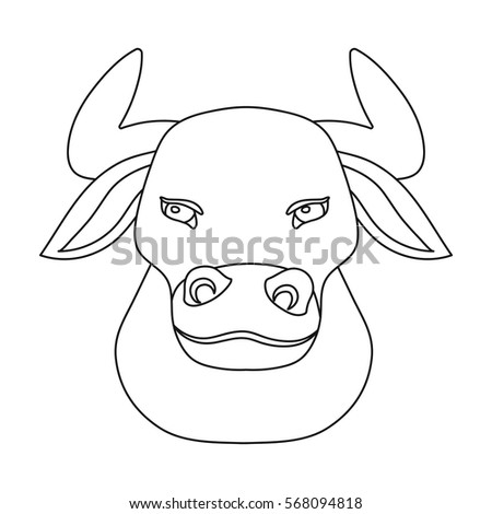head bull icon outline style isolated stock vector royalty free Large Outline of Spain head of bull icon in outline style isolated on white background spain country symbol stock