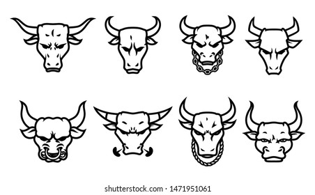 Head bull logo icon designs with chain on the neck vector.
