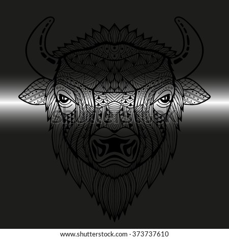 Head Bull Style Zentangle Patterned Animals Stock Vector Royalty Unique Patterned Animals