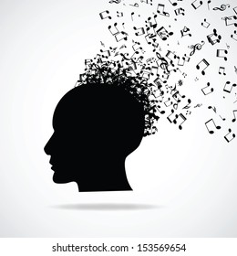 Head with burst effect, vector illustration
