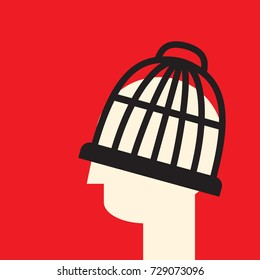 head in the cage as a symbol of limited understanding and bias