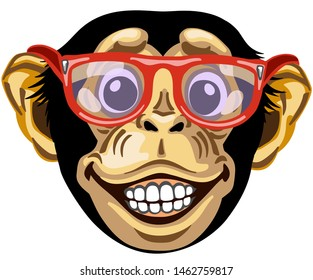 Head of cartoon chimp ape or chimpanzee monkey wearing glasses and smiling cheerful with a big smile on face showing teeth. Positive and happy emotion. Front view. Isolated vector illustration