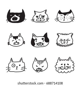 Head cat doodle set monochrome, isolated sketch cat characters, sketch line icons.