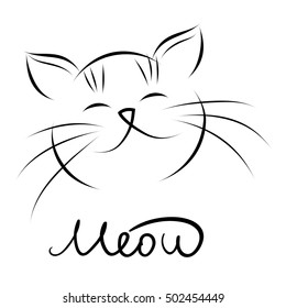 Head of cat with hand lettering word 'Meow' on white background. Vector illustration.
