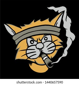 head cat smoking .vector hand drawing,Shirt designs, biker, disk jockey, gentleman, barber and many others.isolated and easy to edit. Vector Illustration - Vector